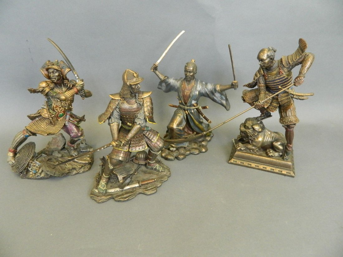 Four cold cast figures of Japanese samurai, largest 10""