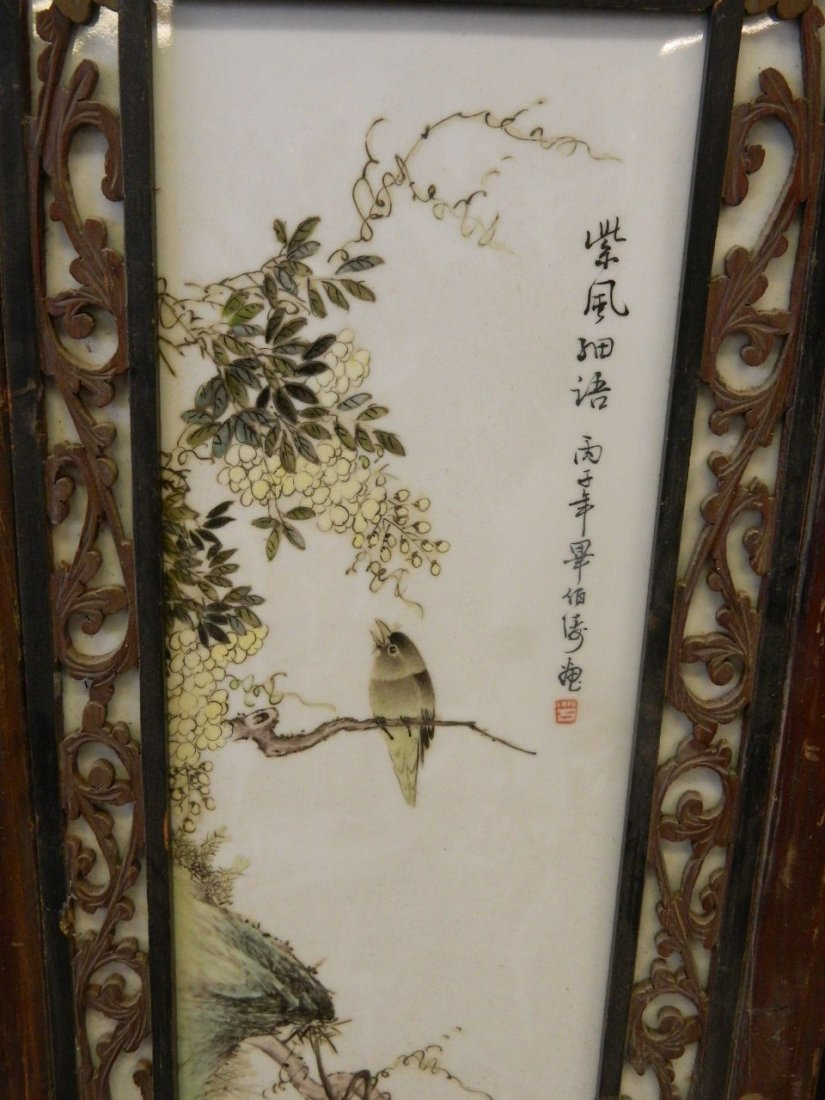A pair of Chinese porcelain panels with painted enamel - 2