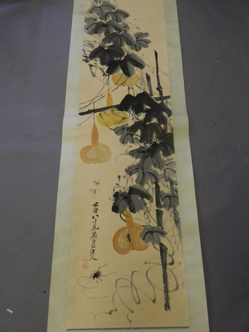 A Chinese watercolour scroll decorated with insects and