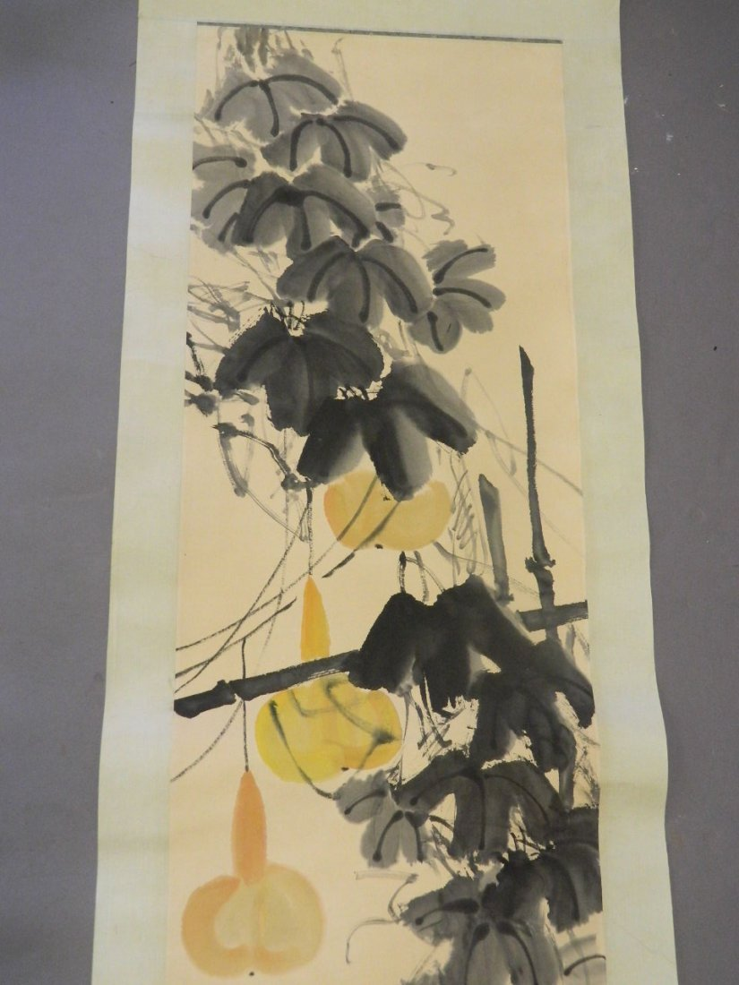 A Chinese watercolour scroll decorated with insects and - 2