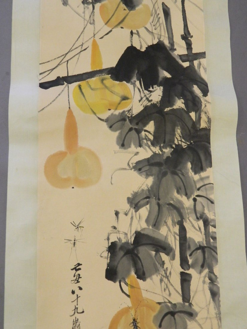 A Chinese watercolour scroll decorated with insects and - 3