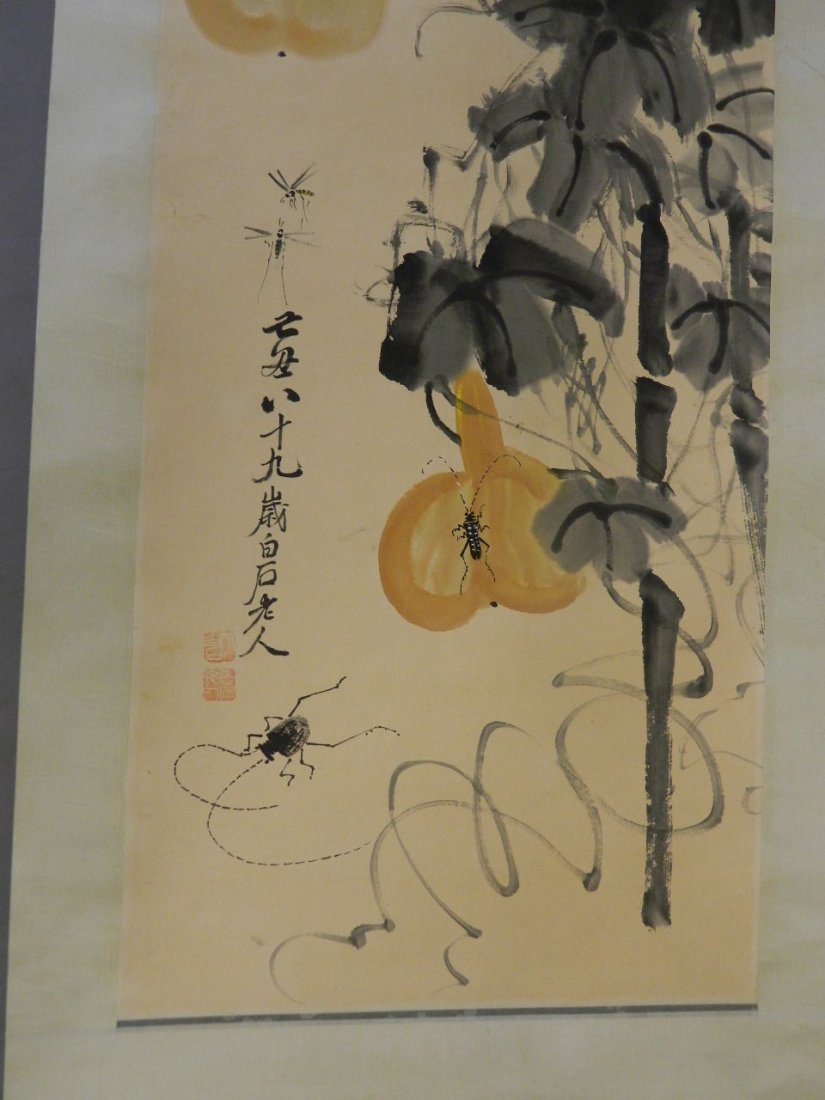 A Chinese watercolour scroll decorated with insects and - 4
