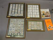 A collection of framed cigarette cards including Wills