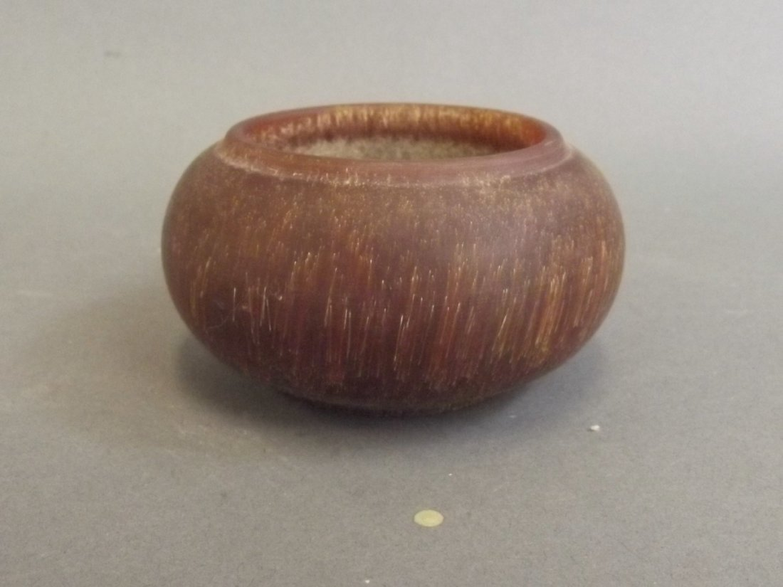 """A Chinese turned faux horn bowl, 3½"""" diameter"""