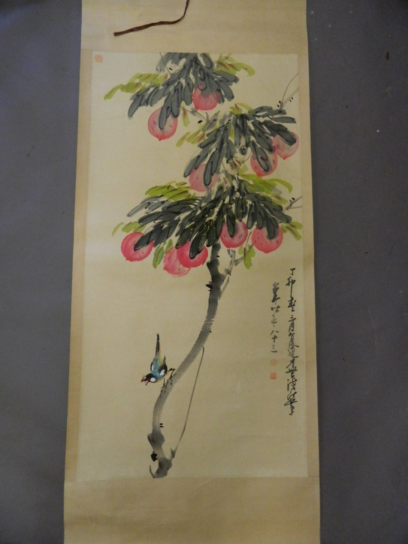 A large Chinese watercolour scroll decorated with a
