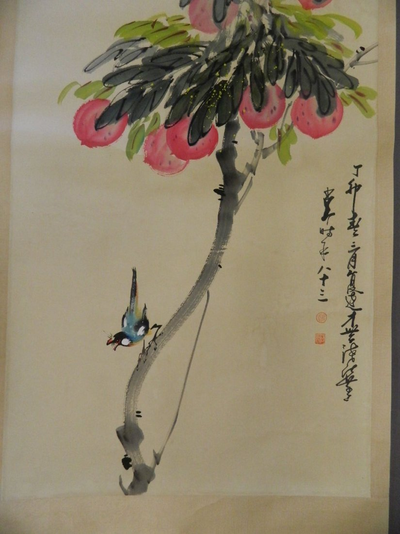 A large Chinese watercolour scroll decorated with a - 3