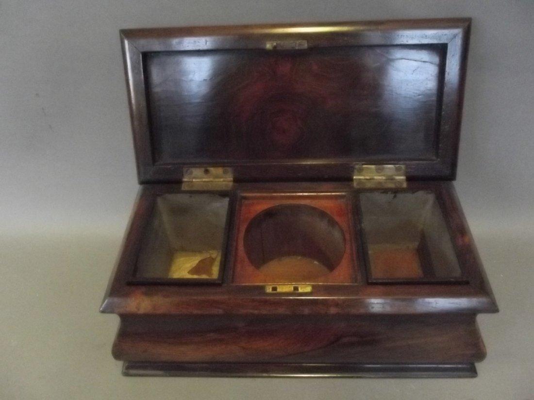 A Regency bombé shaped rosewood twin compartment tea - 3