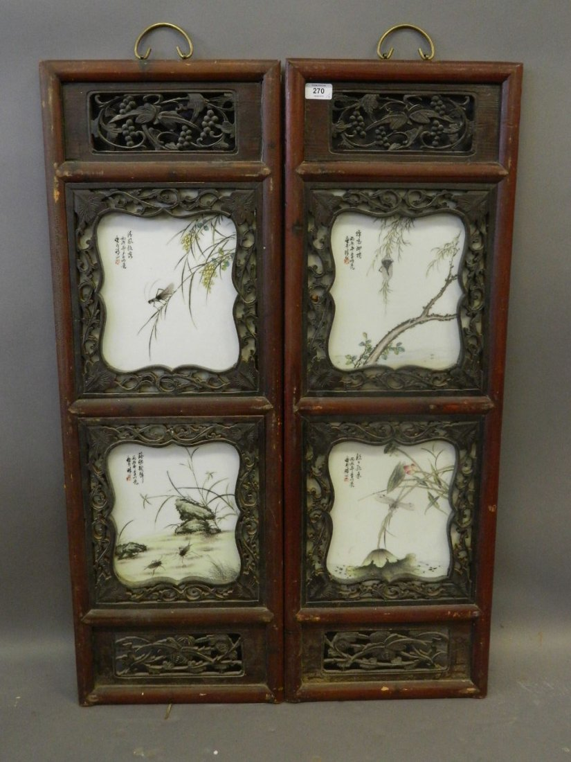 A pair of Chinese porcelain plaques containing four