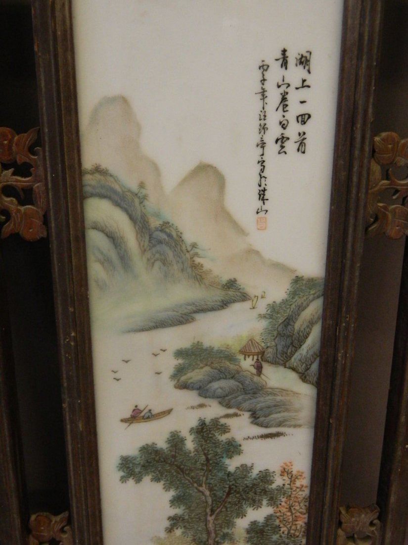 A pair of Chinese porcelain panels with painted enamel - 3