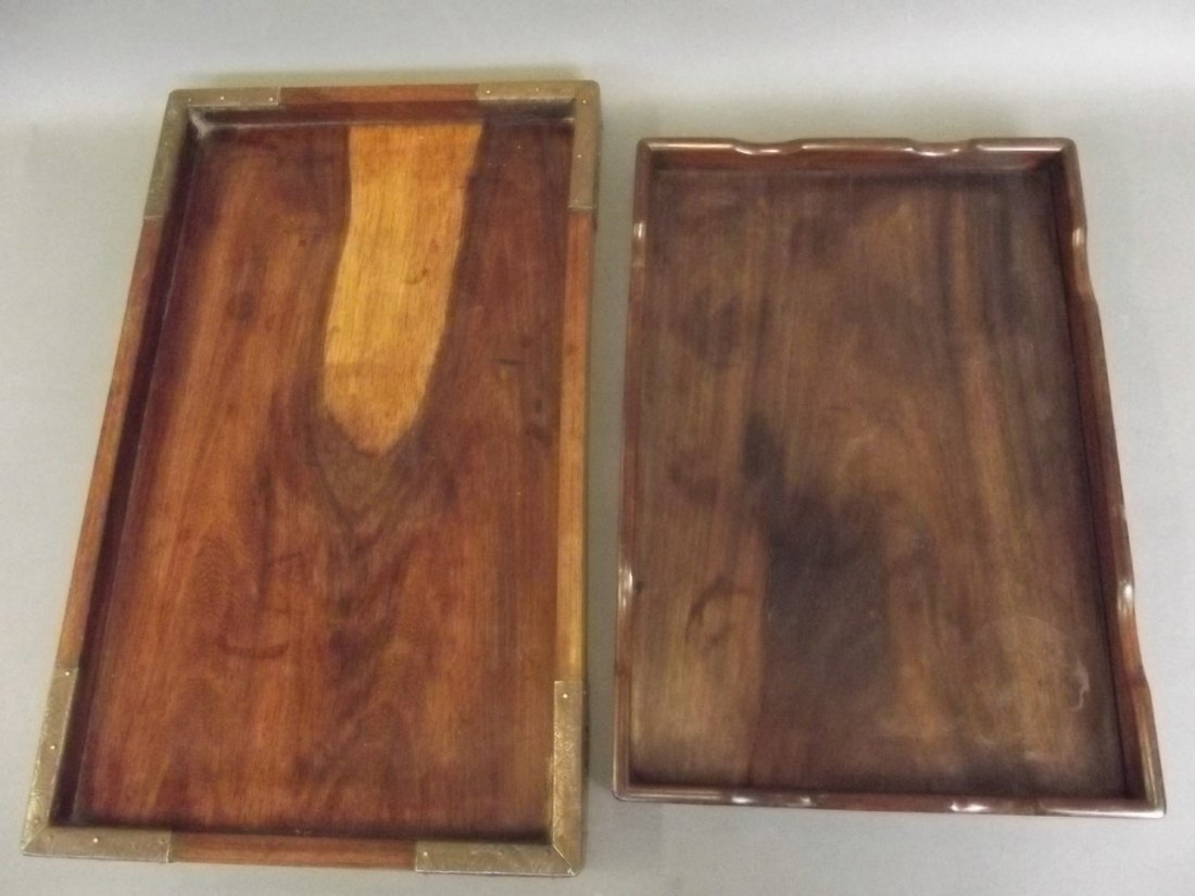 A Chinese hardwood tray with brass bound corners, and - 2