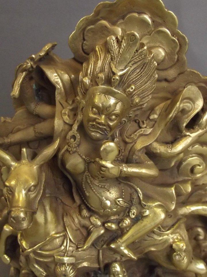 """A Sino-Tibetan brass figure of Palden Lhamo, 8"""" high - 2"""