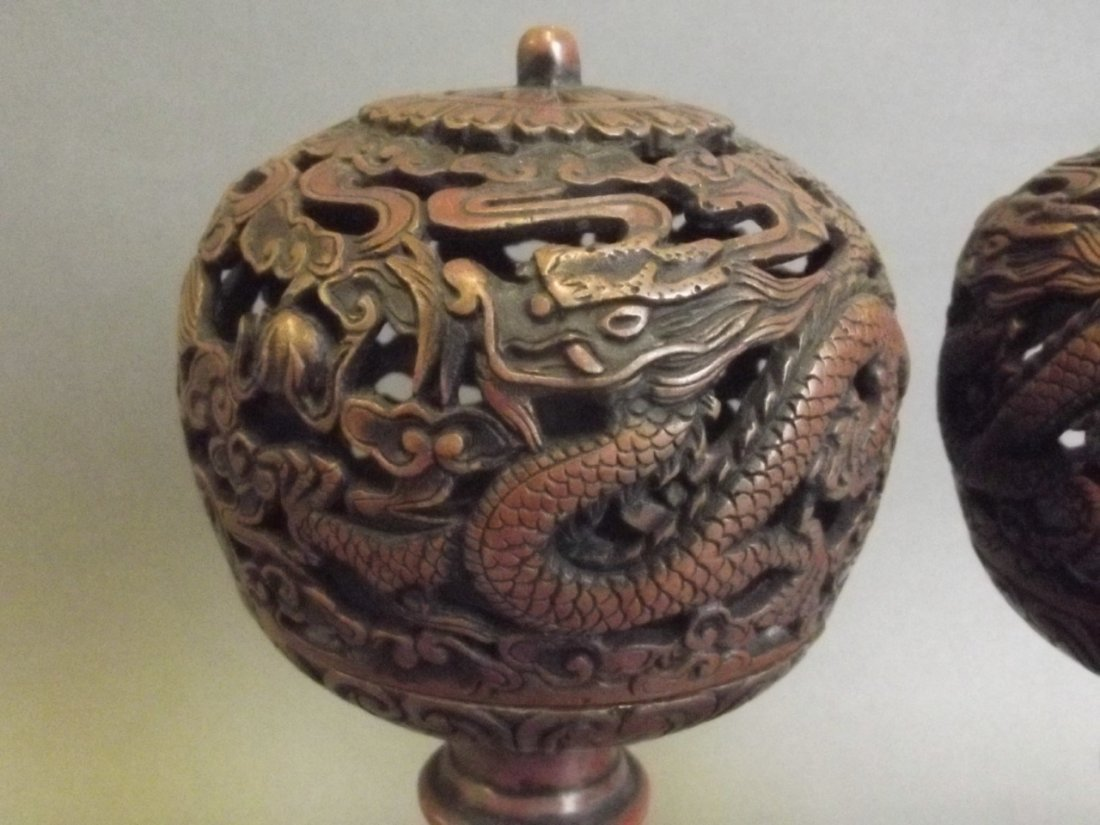 A pair of Chinese coppered metal pierced ball censers - 2