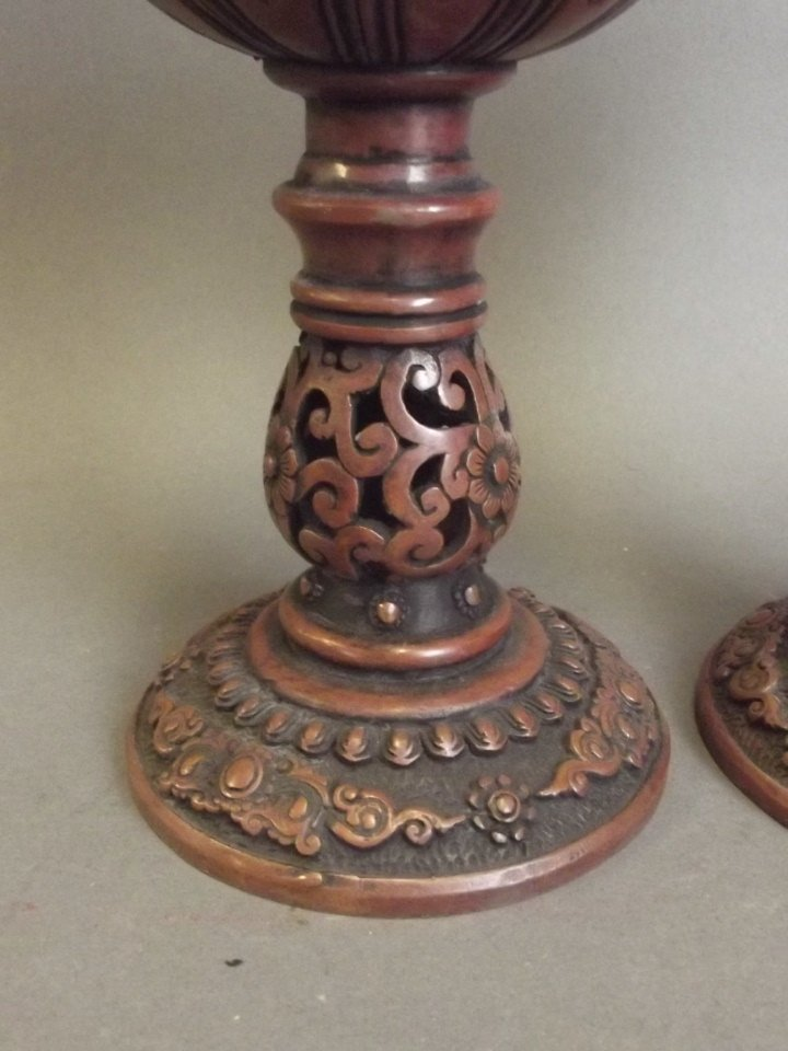 A pair of Chinese coppered metal pierced ball censers - 3