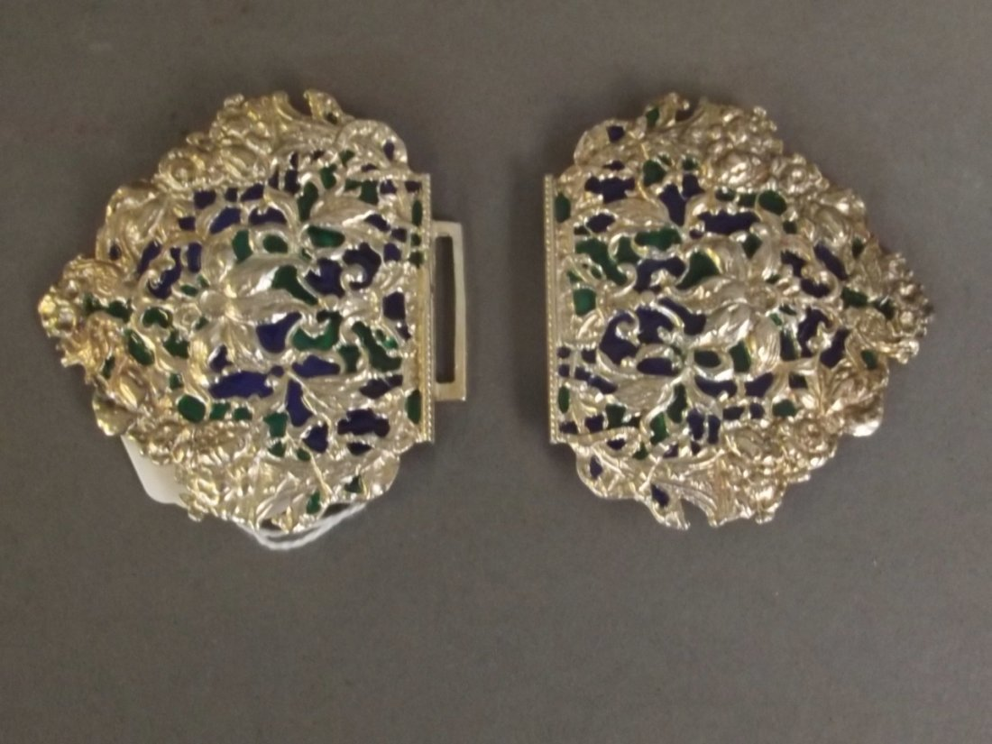 An ornate silver plate and plique-à-jour nurse's - 2