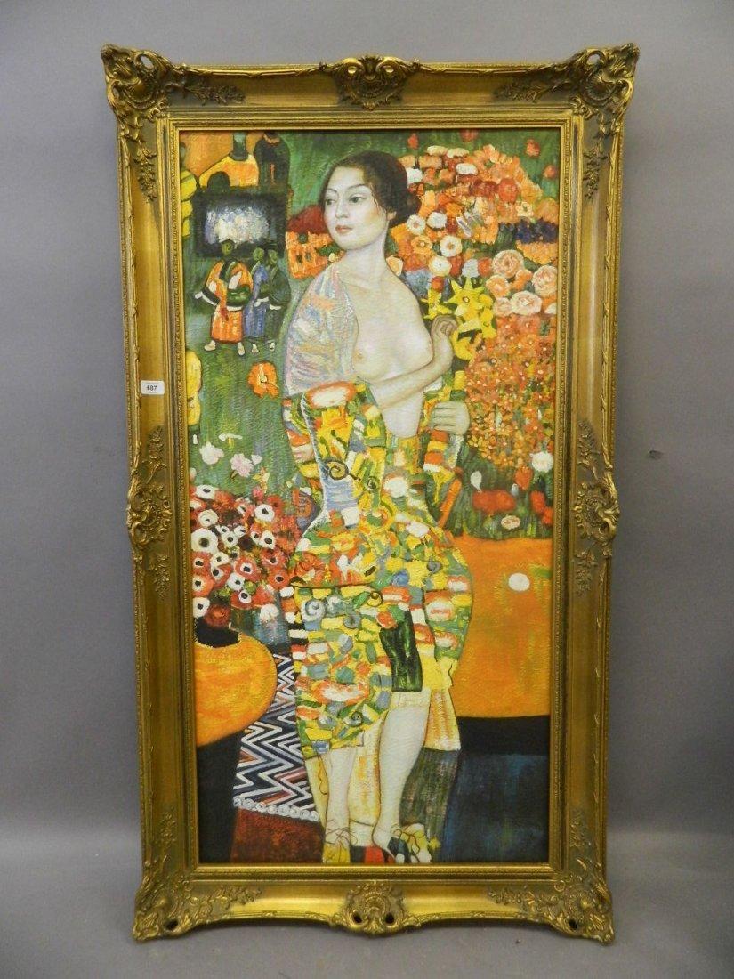 A symbolist oil on canvas, 'The Dancer', portrait of a