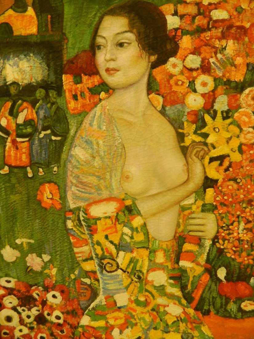 A symbolist oil on canvas, 'The Dancer', portrait of a - 2