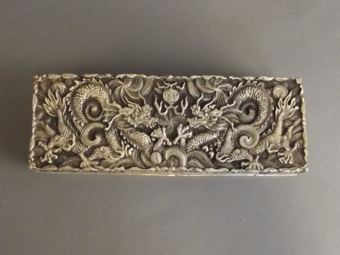 A Chinese white metal scribe's box with incised twin - 2