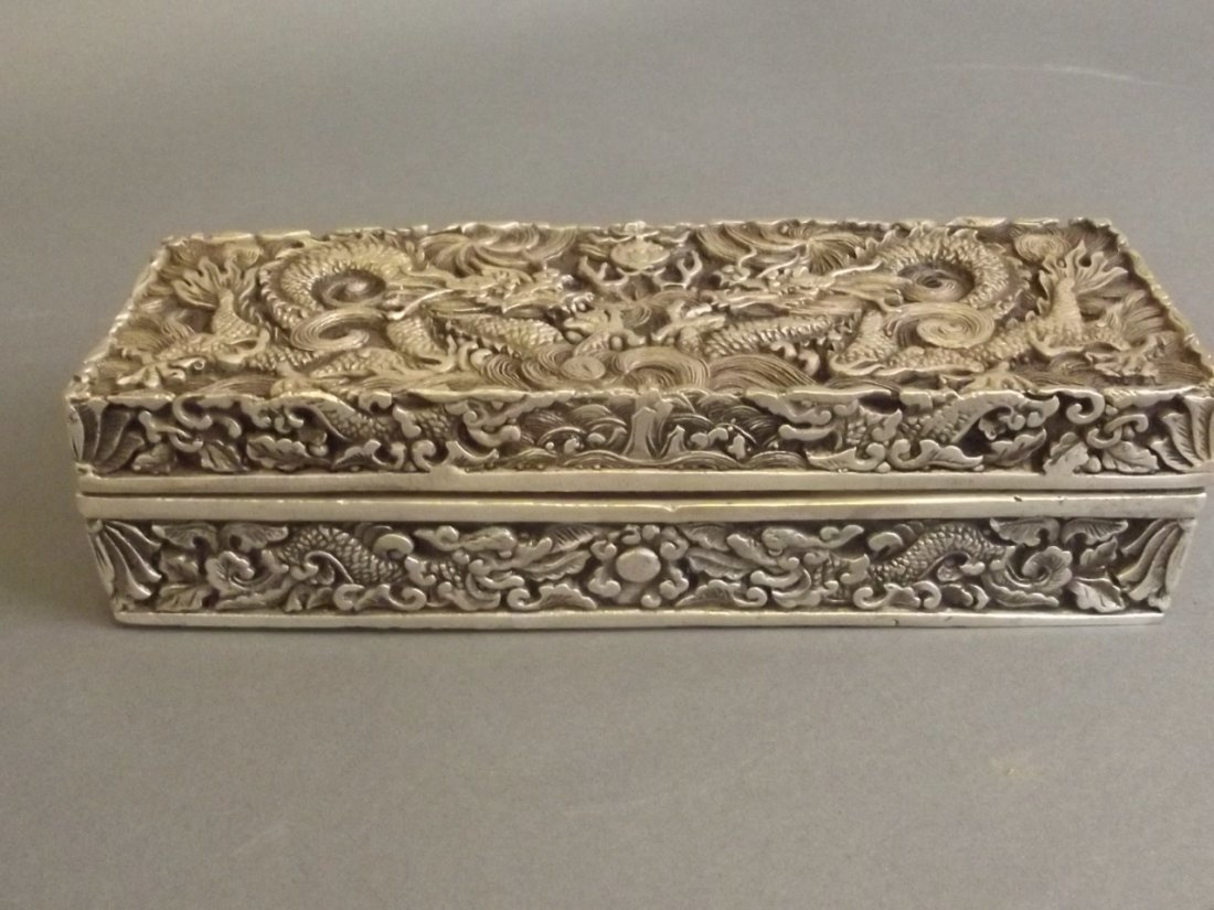 A Chinese white metal scribe's box with incised twin - 3