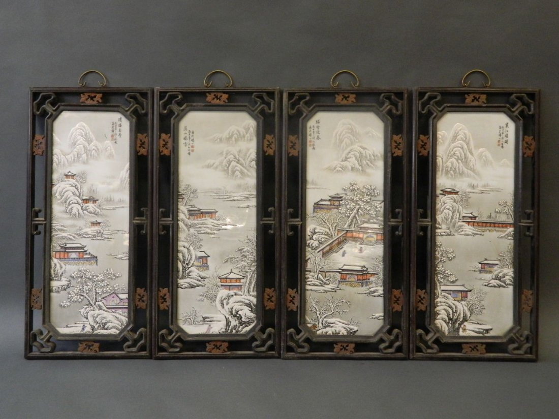 A set of four Chinese enamelled porcelain plaques
