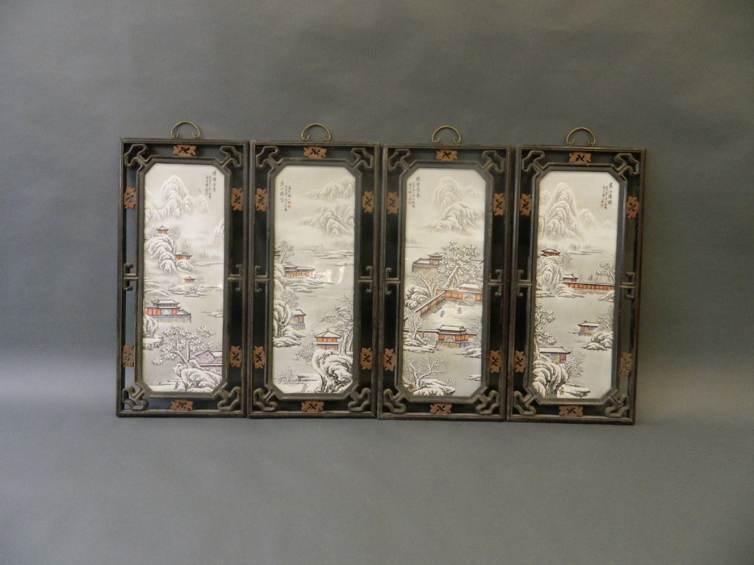 A set of four Chinese enamelled porcelain plaques - 2