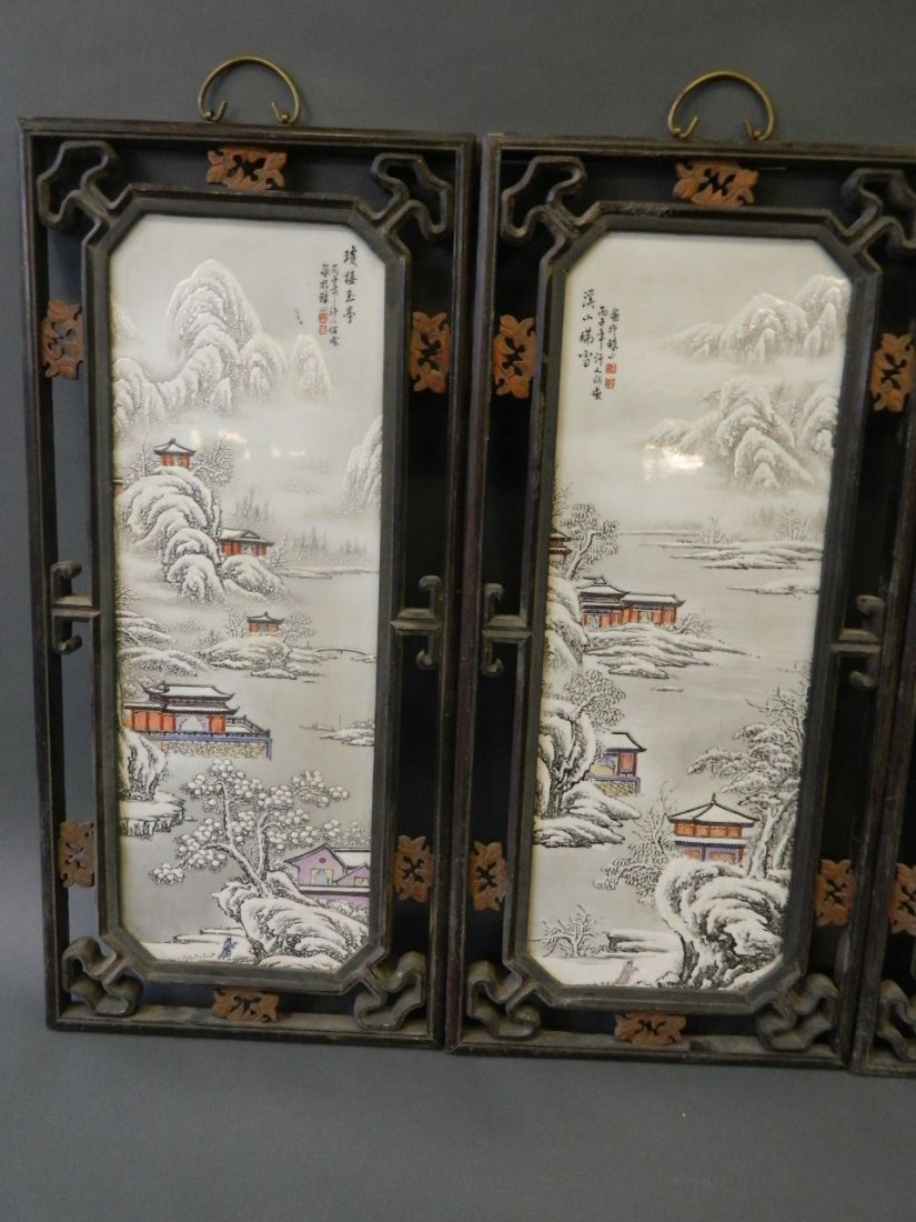 A set of four Chinese enamelled porcelain plaques - 3