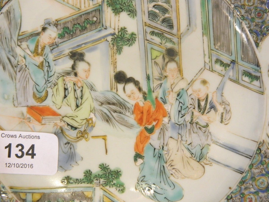 A C19th Chinese famille verte plate with raised enamel - 2