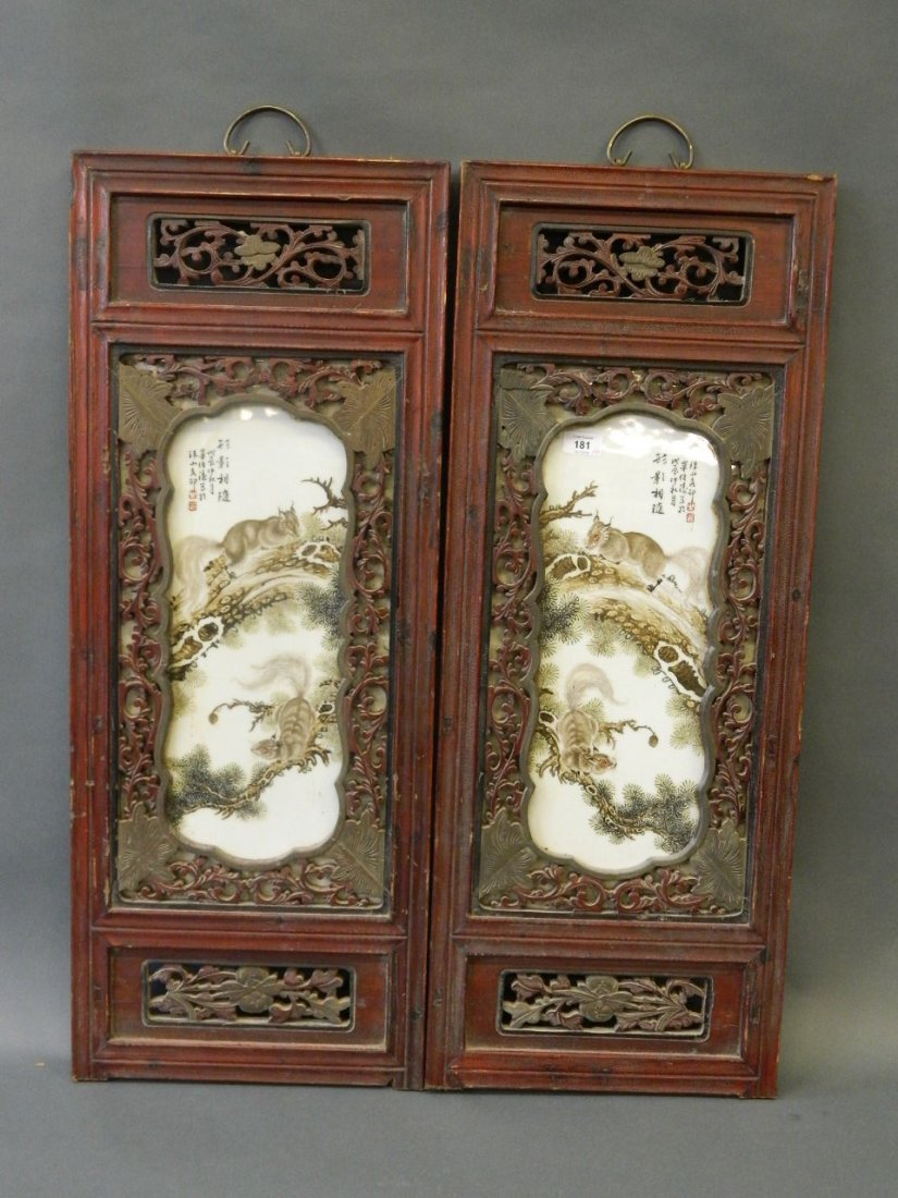 A pair of Chinese enamelled porcelain panels depicting