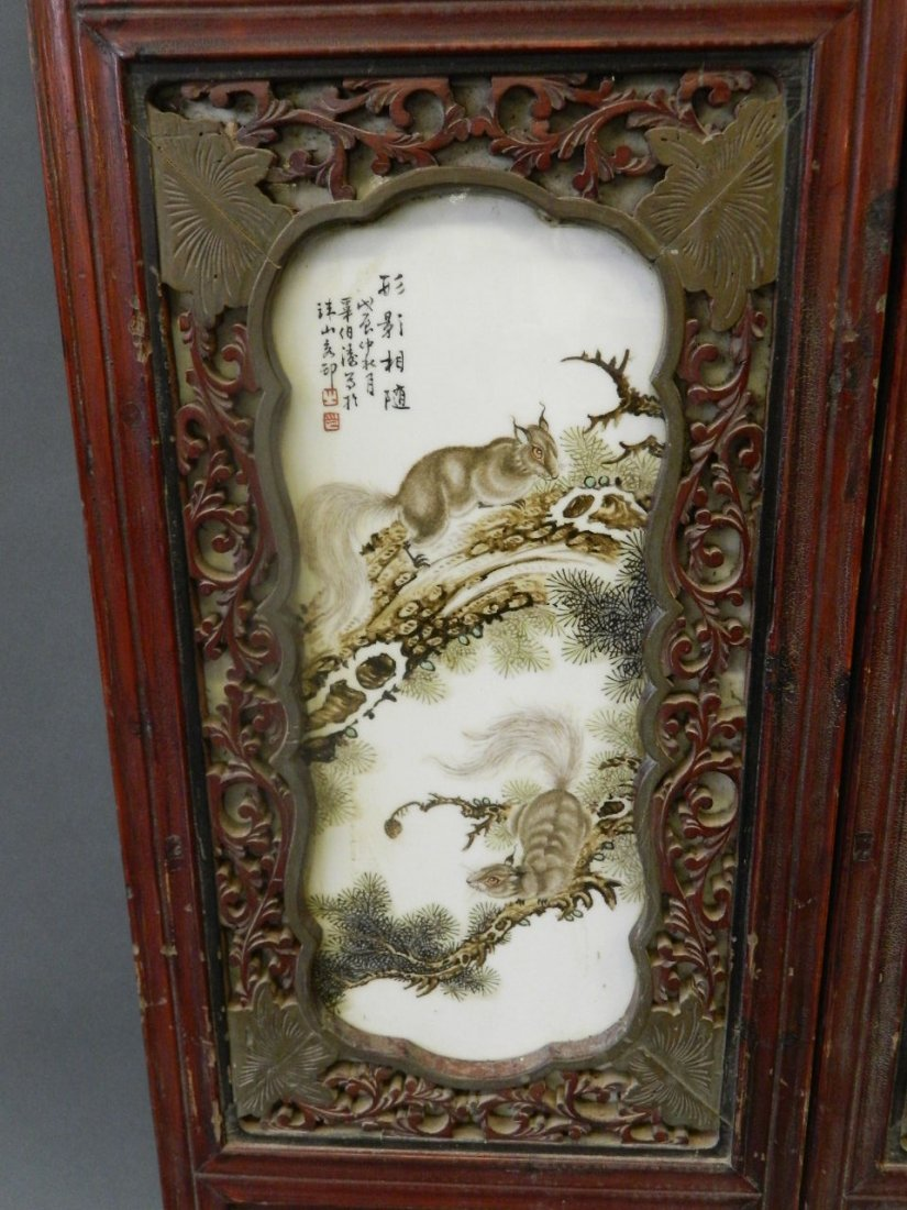 A pair of Chinese enamelled porcelain panels depicting - 2