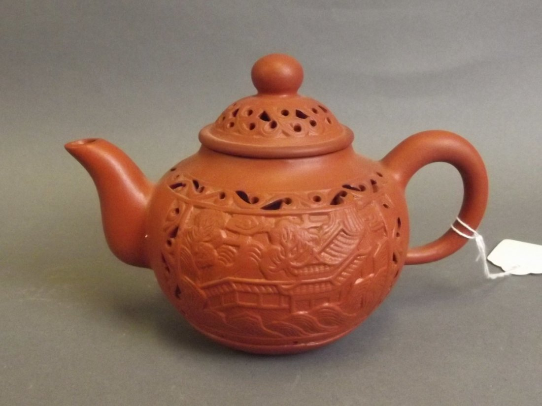 A Chinese Yixing terracotta teapot with pierced temple - 2