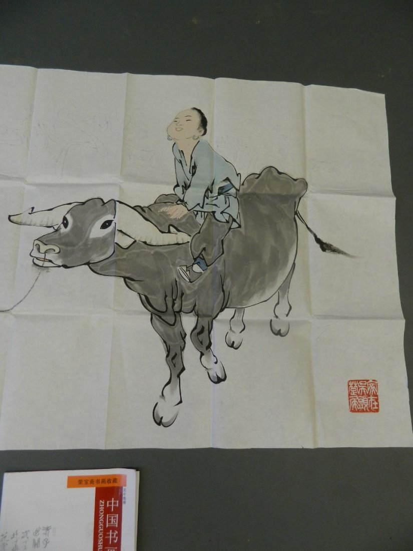 A Chinese watercolour on watermarked paper of a boy - 3