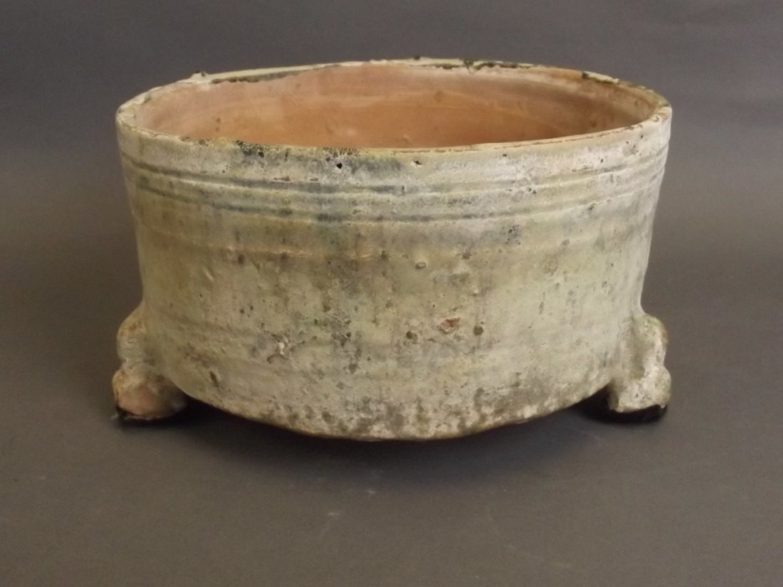 A Chinese Han dynasty green glazed pottery censer