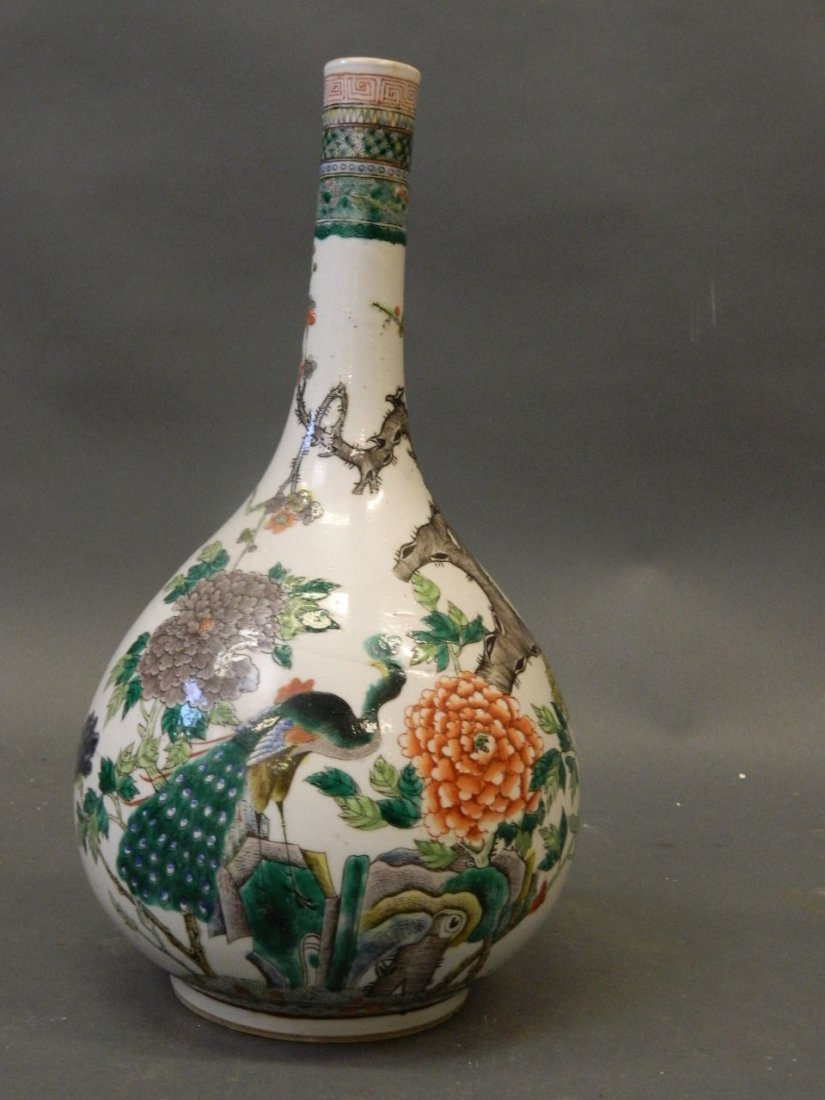 A C19th Chinese bottle shaped porcelain vase with