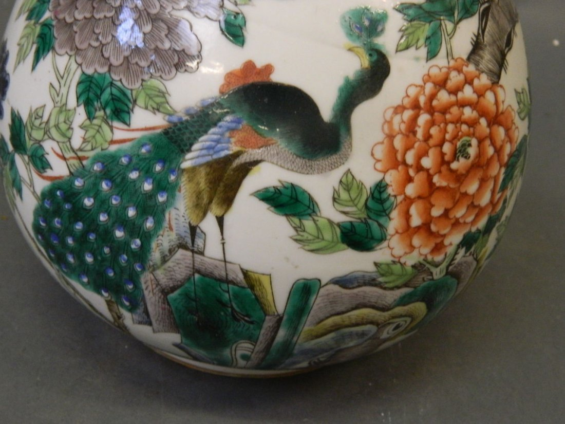 A C19th Chinese bottle shaped porcelain vase with - 2