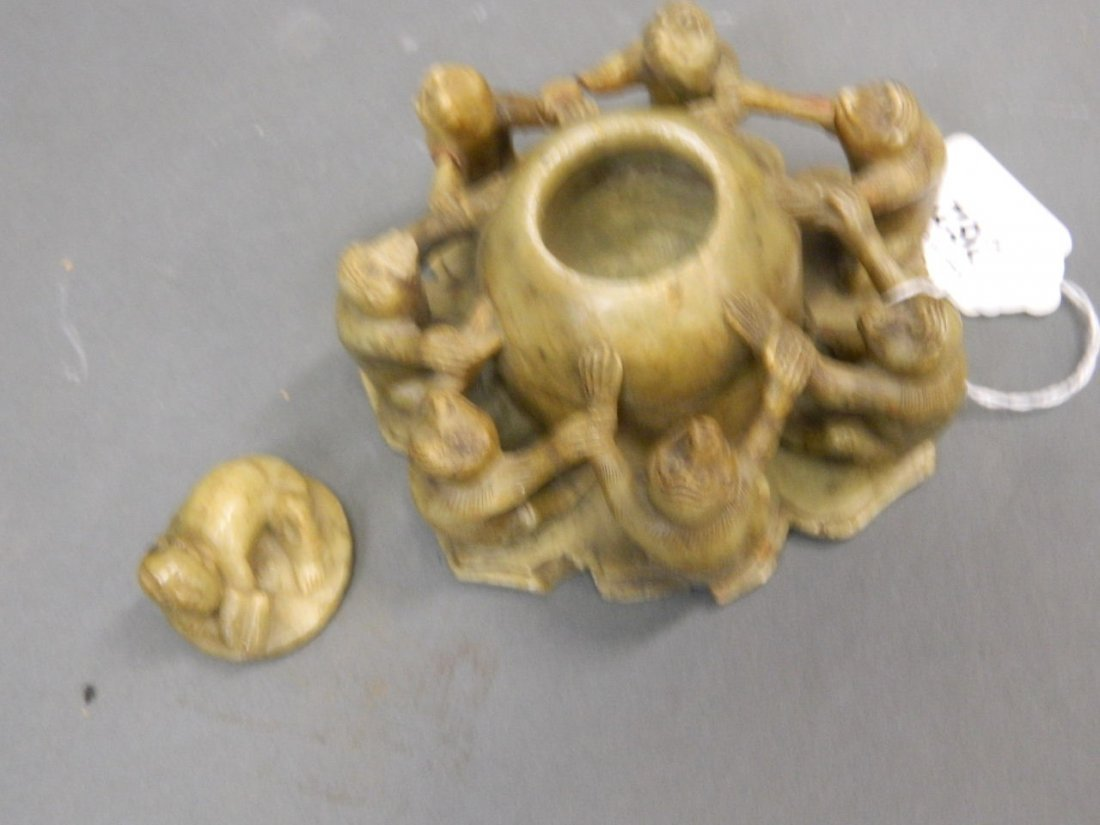A Chinese carved soapstone pot and cover in the form of - 3