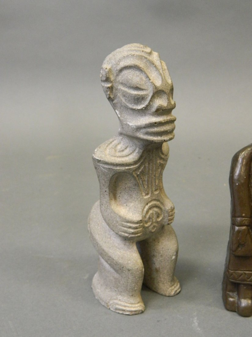 An Eastern carved stone figure, together with a painted - 2