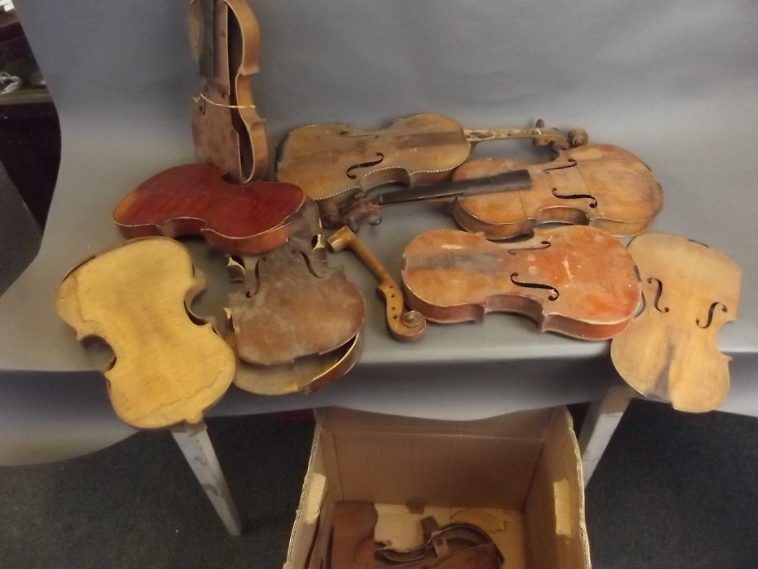 A quantity of early violins and parts, for restoration