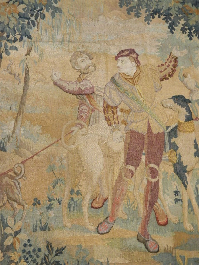 An early C17th Flemish hand woven tapestry with a scene