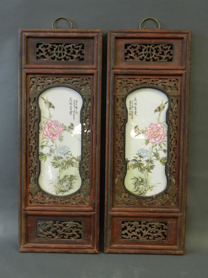 A pair of Chinese porcelain panels with painted enamel