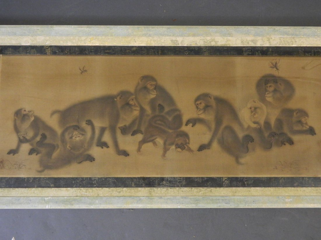 A fine Edo period painted silk, troop of monkeys with a