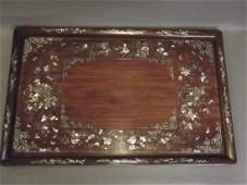 A late C19th/early C20th Chinese hardwood tray with