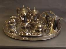 A good silver plated tray with pierced gallery, a three