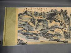 A large Chinese watercolour scroll depicting an