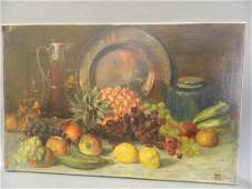 W.H.H., oil on canvas, still life of fruit on a table,