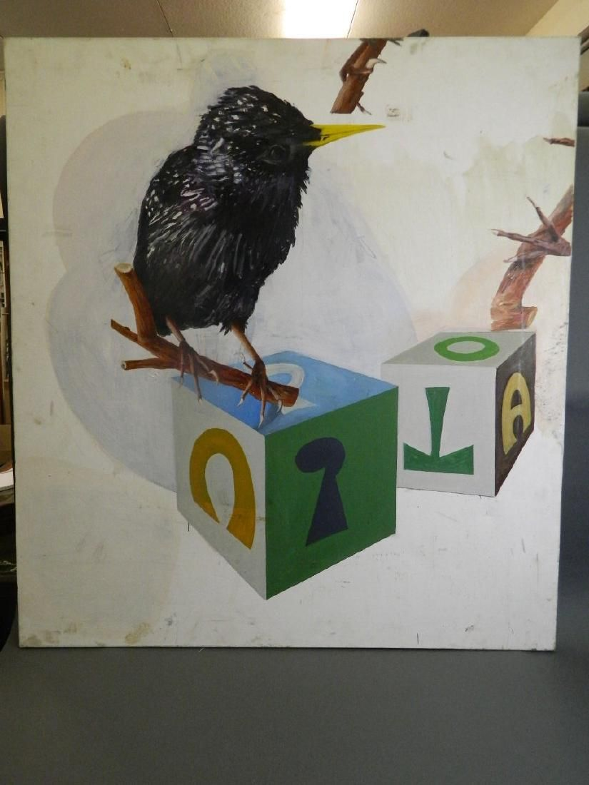 A large contemporary oil on canvas, blackbird and runic