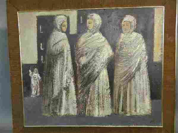 A C20th oil on board of The Three Graces, signed with