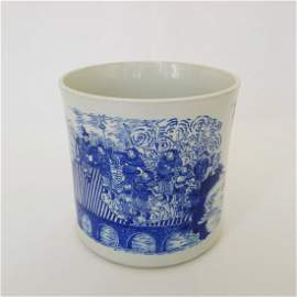 ANTIQUE CHINESE BLUE & WHITE PORCELAIN BRUSHPOT