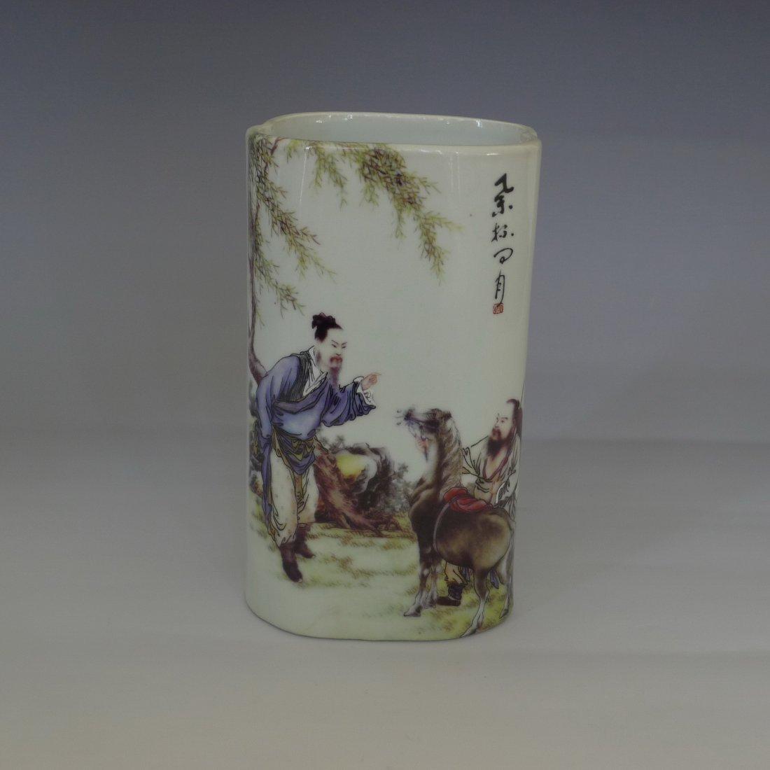 CHINESE FAMILLE ROSE PEN HOLDER