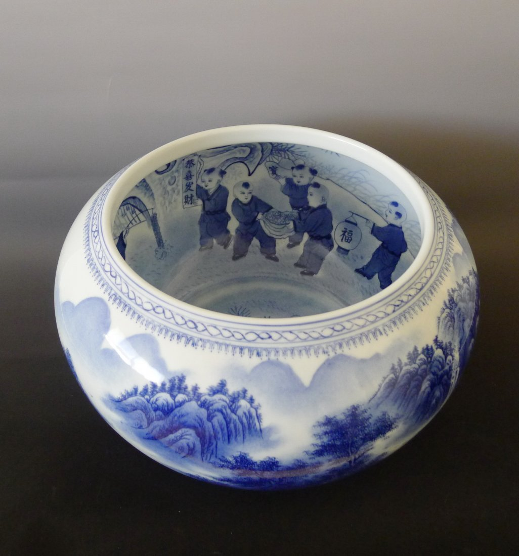 JINGDEZHEN GLAZED BLUE AND WHITE PEN WASH