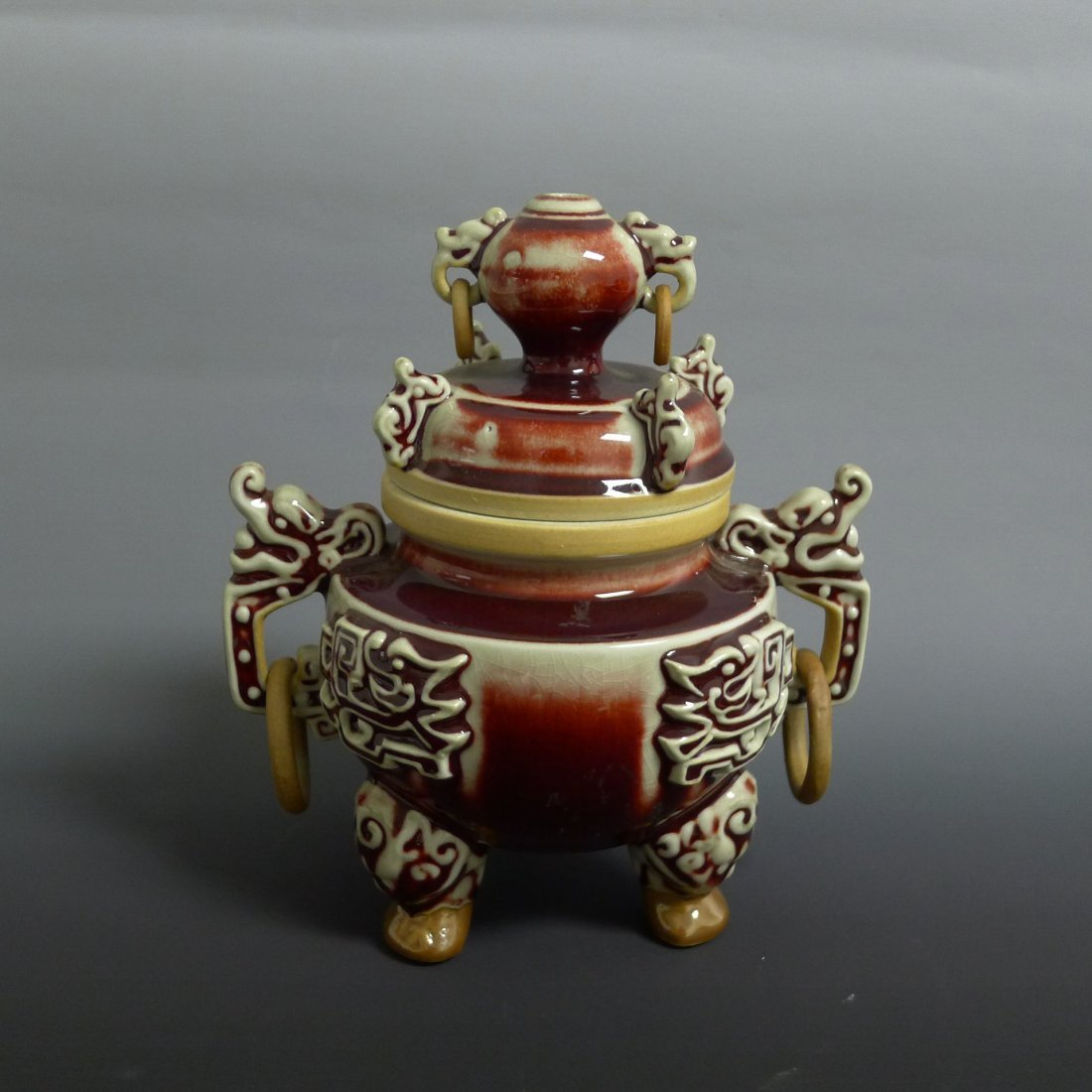 CLASSIC REACTIVE RED GLAZED TRIPOD CENSER