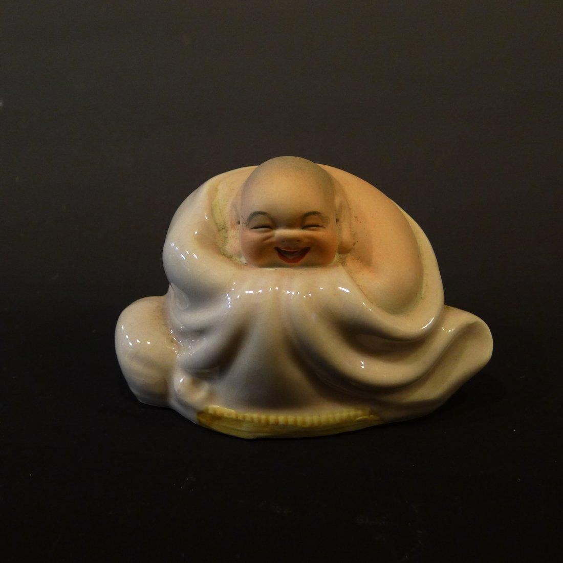 CHINESE GLAZED PORCELAIN MILLER BUDDHA